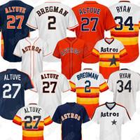 свитер с длинными рукавами оптовых-Astros 2 Трикотажные изделия Alex Bregman 27 Jose Altuve 34 Nolan Ryan 35 Джастин Верландер Трикотажные изделия для бейсбола