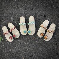 ingrosso scarpe da spiaggia eleganti-Pantofole di lino eleganti Pantofole di lino da donna Scarpe da spiaggia di Bohemian Beach