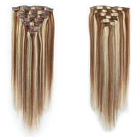 Wholesale human hair extentions for sale - Group buy Extra thick Clip In Human Hair Extentions Silky Straight A Virgin Human Hair Extensions Clip In Remy Hair StraFull Head Mix Colo