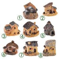 ingrosso casa in miniatura diy-Carino Mini Stone House Fairy Garden Miniature Craft Micro Cottage Paesaggio Decorazione per DIY Resin Artigianato 8 stili MMA1634