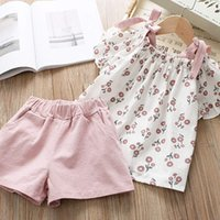 Wholesale girl clothing online - Princess baby girls summer clothing set suspender flower blouse Tops cotton shorts girls outfits cute suit