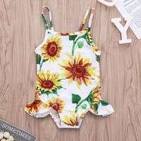 baby badeanzug rüsche großhandel-Baby einteiliger Badeanzug Sonnenblume Gedruckt Sling Rüschen Badeanzüge Kinder Mädchen Strand Bikini Sommer Wassersport Bademode 0M-3T