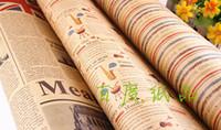 fondo de pantalla de cumpleaños al por mayor-Papel de envoltura de regalo de la vendimia Kraft Regalo Embalaje Regalo de cumpleaños Envoltura DIY Craft Wallpaper 75 * 52 cm Festival Suministros