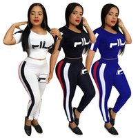 Wholesale girls brand tracksuits resale online - Luxury Designer Women Two Piece Outfits Fils Brand Summer Tracksuit T shirt Crop Tops Leggings Pants Bodysuit Sportswear suits sets C61807
