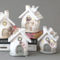 ingrosso mini artigianale luce-Moda creativa ceramica decorazione della casa artigianato arredamento ceramica candelabro luce notturna ornamenti mini casa candelabro