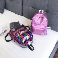 Wholesale rucksack style handbags for sale - Group buy 4styles Laser Backpack Colorful Rainbow School Shoulder Bag PU Handbag Large girl Students Backpacks Outdoor Travel Bags Rucksack FFA2561
