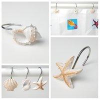 ganchos de estrela do mar venda por atacado-novos Anéis de cortina Gancho da cortina de banho de resina Starfish Conch Modelagem Ganchos para roupão de banho Artigos Ganchos para pendurar Ferragens do banheiroT2I5398