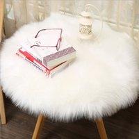 ingrosso coperture di sedia blu-IG Style Tappeti Morbido tappeto di pelle di pecora artificiale Coprire la copertura di lana artificiale caldo peloso tappeto sedile Inverno caldo copertura della sedia