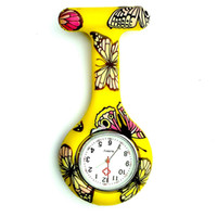 наручные часы купить оптовых-Hot Sale Silicon Nurse FOB Pocket Watch Women Animal Pattern Round Runic Brooch Analog Quartz Pocket Watch Tunic Round Watches