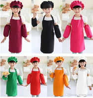 Wholesale aprons for painting resale online - plain apron for kids kitchen children solid aprons with pockets chef pinafore polyester garden artist painting crafts girl boys party class