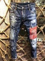 pantalones vaqueros rotos largo pantalón al por mayor-Rock Biker Jeans Hombres Ripped Denim Tearing Jean Pantalones Hip Hop Motocicleta Hombre Pantalones Vaqueros rectos Pantalones acanalados Boy D2 Jeans # 0836