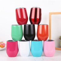 vasos de boda al por mayor-Vaso de vino de 9 oz Vaso de vino Vaso de doble pared con aislamiento de oro rosa Taza de café de acero inoxidable con tapas para bodas Chr