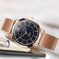 стальной ленточный конвейер оптовых-Ультра-тонкие икра золотые часы женские кварцевые часы из нержавеющей стали сетка ремень браслет часы женские часы Relogio подарок # B