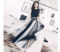 saia longa grande laço venda por atacado-2019 Novo design das mulheres moda elástico na cintura laço arco gaze malha cor bloco maxi longo vestido de baile grande expansão saia