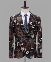 kulüp blazers toptan satış-Erkek Tasarımcı Blazers V Boyun Tek Göğüslü Kulübü Baskılı Erkek Sahne Kostüm Erkek Giyim