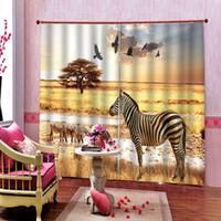 cortinas da sala de zebra venda por atacado-Estepe africano zebra águia cortina 3d impressão digital para sala de estar quarto blackout cortina