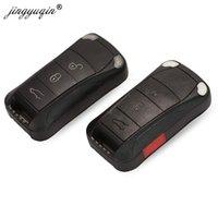 складной ключ кейс оптовых-jingyuqin дистанционного флип складной ключ автомобиля чехол брелок 3 4 кнопки для Кайенн GTS замена оболочки брелок
