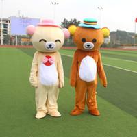 mascotes de urso adulto venda por atacado-2019 venda quente de fábrica Janpan Rilakkuma urso mascote trajes tamanho adulto urso traje dos desenhos animados de alta qualidade festa de Halloween frete grátis