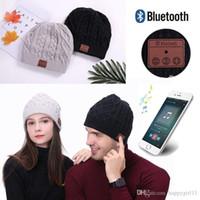 alto-falantes estéreo bluetooth venda por atacado-Quente Macia Beanie Sem Fio Bluetooth Hat Cap fone de Ouvido Fone De Ouvido Speaker Mic Stero Voz e151
