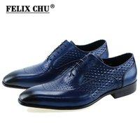 mavi deri giysi toptan satış-FELIX CHU Lüks İtalyan Hakiki Inek Deri Erkekler Mavi Siyah Düğün Oxford Ayakkabı Dantel-Up Ofis Suit erkek Elbise ayakkabı # D560-20A # 56237