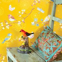 mavi arka planlar toptan satış-Amerikan duvar kağıdı, pastoral çiçekler, kuşlar, küçük, taze çiçekler, duvar kağıtları, mavi, sarı, minimalist, modern oturma odası, arka plan duvar,