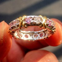 tanzanite yüzükler elmaslar toptan satış-Hotstone88 Marka Jewlery Kadınlar 925 Gümüş Pembe Simüle Elmas Kübik Zirkonya Tanzanit Sarı Altın Çapraz Ebedi Bant Alyans