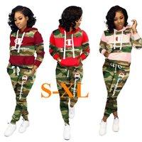 jersey de camuflaje al por mayor-Mujer de marca ropa de invierno otoño Establece Campeón Carta Pullover Hoodies + pantalones de dos piezas de chándal camuflaje Camo Sweatsuit 1set C92607