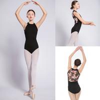trajes de red al por mayor-Gimnasia Leotardo mujeres 2019 Nuevo cuello alto Net Dance Costume Girls Ballet Dancing Wear alta calidad gimnasia Leotard
