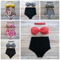 Wholesale bowknot swimwear for sale - Women Bikini Styles Bowknot High Waist Padded Bra Bikini Set Floral Printed Swimwear Swimsuit OOA6702