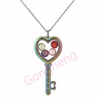 Wholesale floating charm locket key chains for sale - Group buy C1291 Pearl Beads Cage Rainbow Heart Key Magnetic Glass Floating Locket Pendants Women Charms Necklace