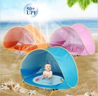 rosa kinder regenschirm großhandel-Mini Baby Strand Zelt UV-Schutz Camping Sonnenschirm mit einem Pool wasserdicht für Kinder Markisenzelte Kind im Freien Sonnenschirm Tnet