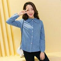 ingrosso legame azzurro semplice-Camicia da donna, camicia a collo tondo casual da donna, moda sottile, cravatta a farfalla, bianco e blu, taglia M-2XL.