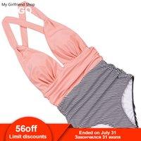 rosa halfter einteiliger badeanzug großhandel-2019 sexy einteiliger badeanzug hohe taille bikini rosa plus größe badebekleidung halter frauen retro vintage badeanzüge beachwear xxxl