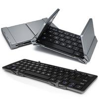 ingrosso dimensioni compresse-Tastiera wireless pieghevole in lega di alluminio tastiera Bluetooth con tasca portatile per iPad iPhone Samsung Tablet smartphone
