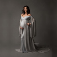 Wholesale maternity gowns resale online - V neck Pregnancy Dresses Maternity Shoot Dress Photography Pregnant Women Maxi Maternity Gown Photo Props Grey
