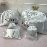 ingrosso coulisse della borsa di scarpa-Logo personalizzato Smoothly Silk Hair Bags Abbigliamento Scarpe Imballaggio dei prodotti Gioielli regalo Raso luminoso a prova di polvere Drawstring Bag