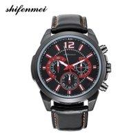 ремни наручные часы для мужчин оптовых-Мужские кварцевые наручные часы Часы с кожаным поясом Бизнес часы Альпинизм Плавательные часы