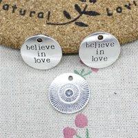 glaube armband silber großhandel-40 stücke Charme platten glauben an liebe 20mm Tibetischen Silber Vintage Anhänger Für Schmuck Machen DIY Armband Halskette