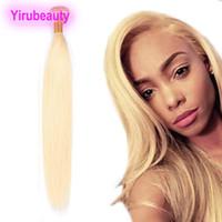 cheveux humains tisse blonde achat en gros de-Remy brésilienne de cheveux humains 613 # Blonde One Bundle 1 pièces / lot droites Extensions de cheveux humains double trames tisse tout droit Bundle 8-30 pouces