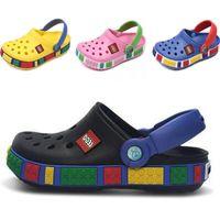 delik katır ayakkabıları toptan satış-Marka Yeni Kauçuk Katır Yaz Çocuk Sandalet cr0cs Terlik Ayakkabı Plaj Açık Çocuklar Için Su Geçirmez Ayakkabı Flip Flop Nefes Delik AyakkabıC7201