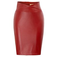 falda lápiz de cuero talla grande al por mayor-2018 Mujeres Pu Cuero Midi Falda Otoño Invierno Damas Paquete Hip Front O Back Slit Pencil Skirt Plus Size MX190717