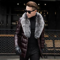 мех из овчины оптовых-2019 New Men's Genuine Sheepskin Leather Down Coat With Natural Silver  Fur Collar Black Real Leather Jacket Outerwear Winter
