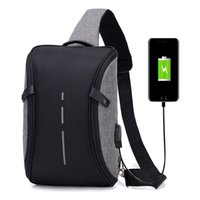Wholesale men cross body backpack resale online - USB Charging Backpack Large Capacity Multi function Crossbody Bags Fashion Male Business Waterproof Casual Travel Bag LJJP356