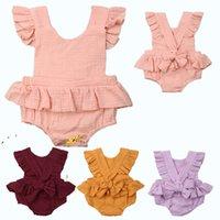 düz renk çocuk giyim toptan satış-Yenidoğan Tulum Bebek Çocuk Kız Yaz Flouncy Kollu Tulum Kolsuz Giysileri Bebek Romper Tulum Askı Yay Toddler Düz Renk A416