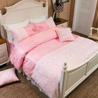 Wholesale duvet for girls princess resale online - White lace princess luxury bedding set for girls women king queen size bed set duvet cover bed linen pillowcase