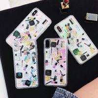 Wholesale iphone perfume soft online – custom Cosmetic Quicksand Case For Iphone XR XS MAX X Plus Hard PC Soft TPU Bling Liquid Lipstick Perfume Bottle Luxury Fashion Glitter Skin