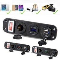 12v voltmeter für auto großhandel-Auto Ladegerät Dual Usb Adapter 12 v Zigarettenanzünder Led Voltmeter Schalter J190427