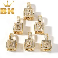 Wholesale ice blocks for sale - Group buy THE BLING KING Solid Square Block Letter Pendant Necklace English Initial Baby Letters Fashion Iced Out Cubic Zirconia Jewelry