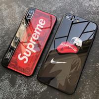 iphone cam mobil toptan satış-Moda moda desen iphone 6 7 artı xs max için cam cep telefonu kabuk