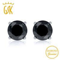 ingrosso stud nero in oro bianco diamanti-Gemstoneking Black Diamond-gioielli 0.33 Ctw taglio rotondo nero diamante naturale 14k Orecchini in oro bianco per le donne Y19052401